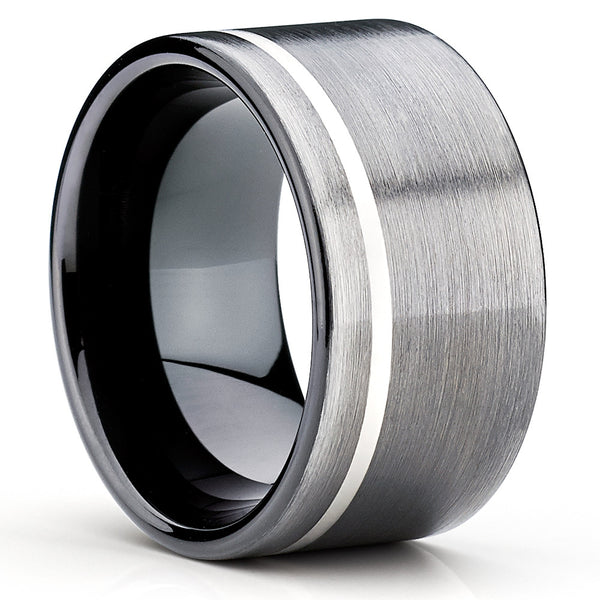 12mm - Black Tungsten Ring - Gunmetal - Men's Tungsten Ring - Black Band