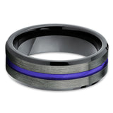 Purple Tungsten Wedding Band - Purple Ring - Gunmetal Tungsten Ring - Clean Casting Jewelry