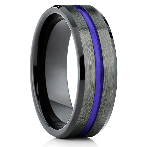 PURPLE Tungsten Ring,Tungsten Wedding Band,Tungsten Carbide,Gunmetal Tungsten