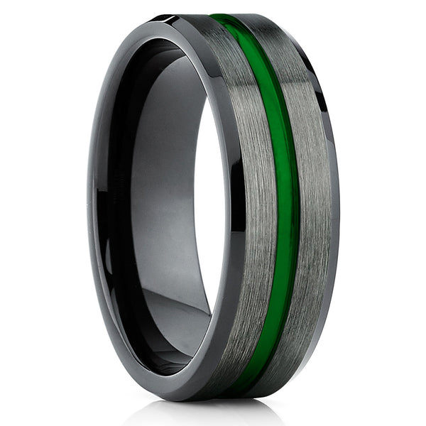 Green Tungsten Wedding Band - Gunmetal - Tungsten Wedding Band -Men's - Clean Casting Jewelry