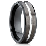 8mm - Black Tungsten Band - Gunmetal Ring - Black Tungsten Ring - Brush - Clean Casting Jewelry