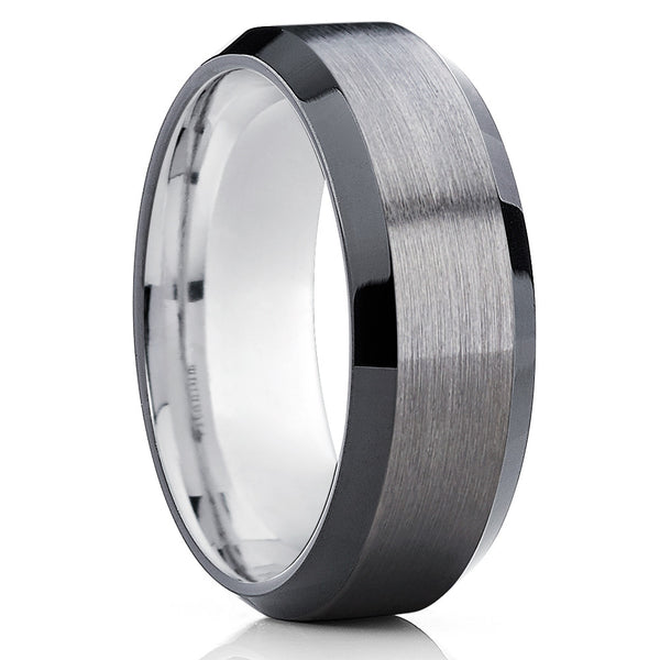 Black Tungsten Wedding Band - Gunmetal Ring - Gray Tungsten Ring - Gray - Clean Casting Jewelry