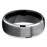 Gunmetal Tungsten Ring Black Tungsten Ring Tungsten Carbide Ring Unique Beveled Edges