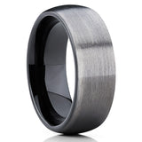 GUNMETAL Tungsten Ring,8mm & 6mm,Wedding Band,Brushed Finish,Black Tungsten