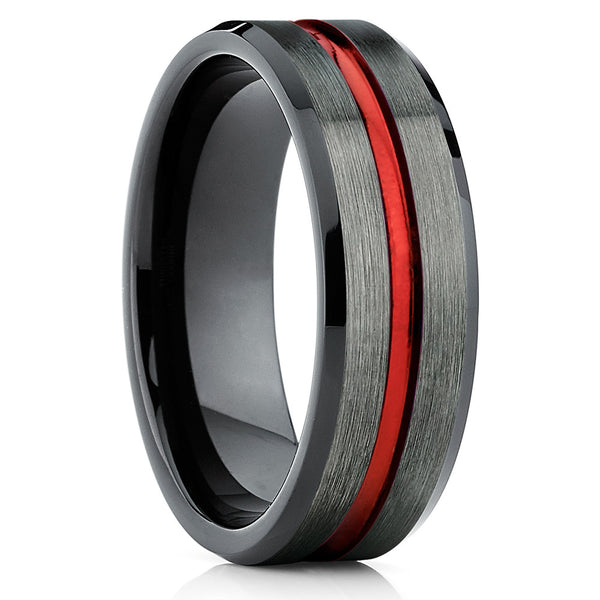 Gunmetal Tungsten Ring,Tungsten Carbide,Red Tungsten,Engagement Ring,Brushed Ring