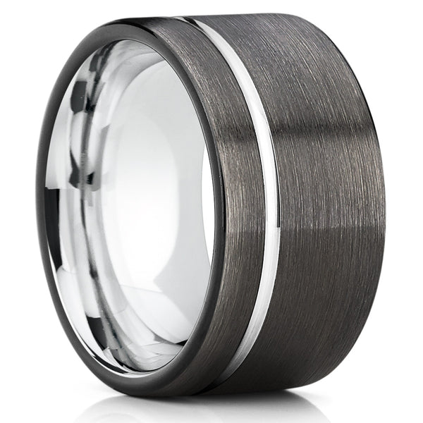 Black Gunmetal Tungsten Ring Offset Groove 12mm,9mm & 7mm
