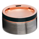 12mm - Rose Gold Tungsten Wedding Band - Gunmetal - Rose Gold Tungsten - Clean Casting Jewelry