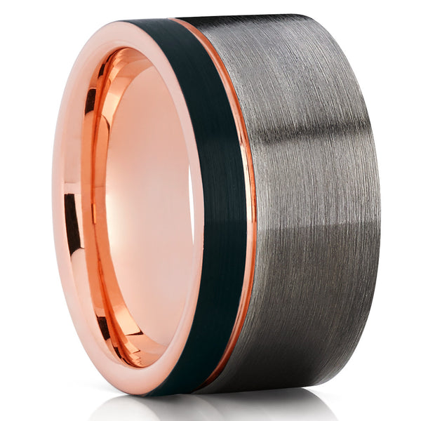 12mm - Rose Gold Tungsten Wedding Band - Gunmetal - Rose Gold Tungsten