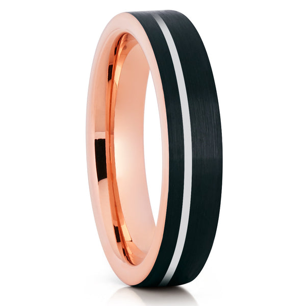 5mm Rose Gold Silver Stripe Tungsten Comfort Fit