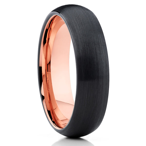 5mm,Black Brushed,Dome Tungsten,Rose Gold,Comfort Fit