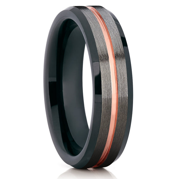 Tungsten Wedding Band - Rose Gold - Gunmetal Ring - 6mm - Black - Clean Casting Jewelry