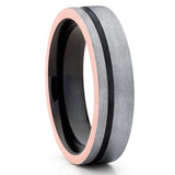 6mm - Black Tungsten Wedding Band - Black Tungsten Ring - Brushed - Gray - Clean Casting Jewelry