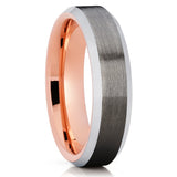 6mm,Gunmetal Tungsten Ring,Rose Gold Tungsten,Tungsten Wedding Band,Bruhsed