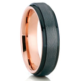Gunmetal Tungsten Ring - Rose Gold Tungsten - Black Wedding Band