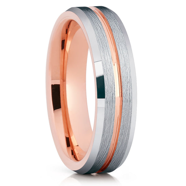 6mm - Rose Gold Tungsten - Tungsten Wedding Band - Brush - Grooved - Clean Casting Jewelry