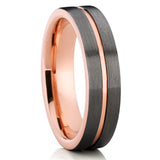 6mm,Brushed,Rose Gold Tungsten,Tungsten Wedding Band,Gunmetal Tungsten Ring