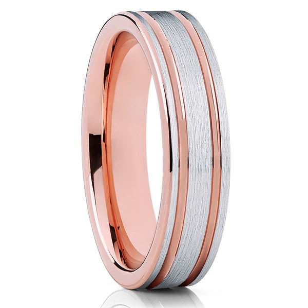 6mm,Rose Gold Tungsten,Double Groove,Tungsten Wedding Band,Tungsten Ring