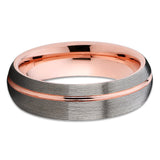 Rose Gold Tungsten Wedding Band - 6mm - Gunmetal - Rose Gold Ring - Unisex
