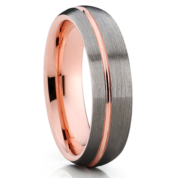 6mm - Rose Gold Tungsten - Gray Tungsten Ring - Rose Gold Wedding Band - Clean Casting Jewelry