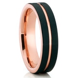 6mm,Rose Gold Tungsten Ring,Tungsten Wedding Band,Black Brushed Tungsten