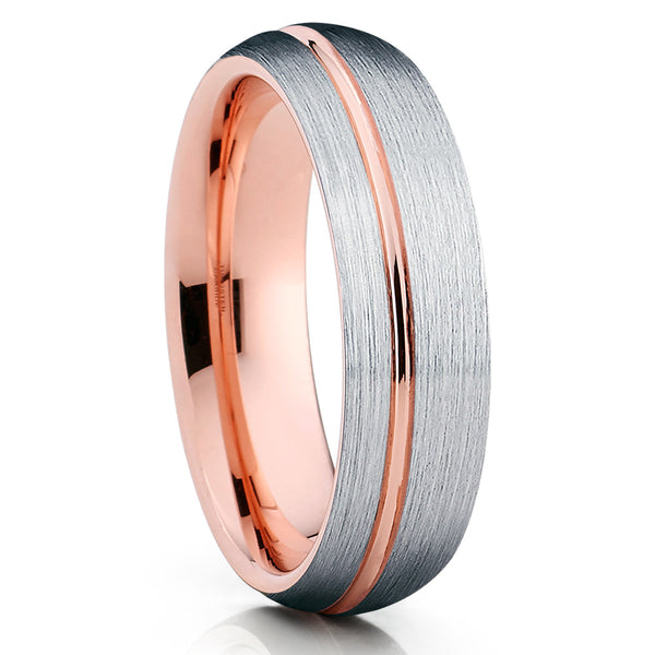 6mm - Rose Gold Tungsten Wedding Band - Tungsten Carbide - Rose Gold