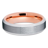 6mm - Rose Gold Tungsten Band - Silver Brush - Rose Gold Tungsten Ring - Clean Casting Jewelry