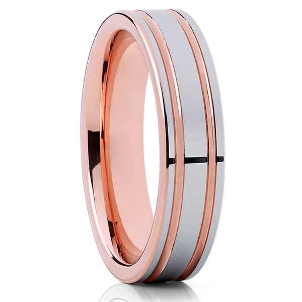 Rose Gold,Double Groove Tungsten Ring,Tungsten Wedding Band,6mm Tungsten Ring