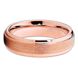 6mm - Rose Gold Tungsten- Brush - Tungsten Wedding Band - Rose Gold - Clean Casting Jewelry