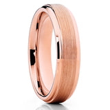 6mm - Rose Gold Tungsten- Brush - Tungsten Wedding Band - Rose Gold