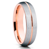 6mm - Rose Gold Tungsten Wedding Band - Center Groove - Brush - Clean Casting Jewelry