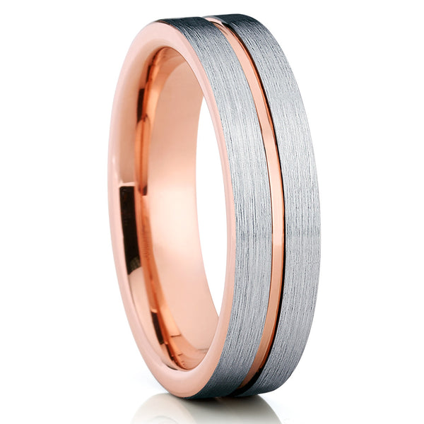 Rose Gold Tungsten - Tungsten Wedding Band - 6mm - Silver Tungsten Band - Clean Casting Jewelry