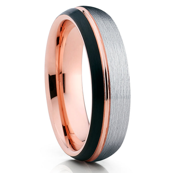 6mm - Rose Gold Tungsten Ring - Black Tungsten Band - Silver Brush - Clean Casting Jewelry