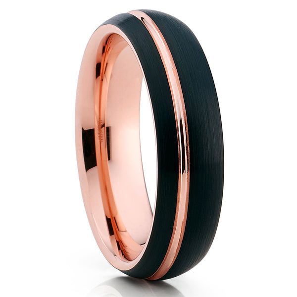 6mm,Brushed Tungsten,Rose Gold Tungsten,Offset Groove,Brushed Tungsten Ring