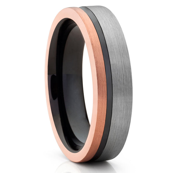 6mm,Rose Tungsten Ring,Tungsten Wedding Band,Rose Gold,Black Groove