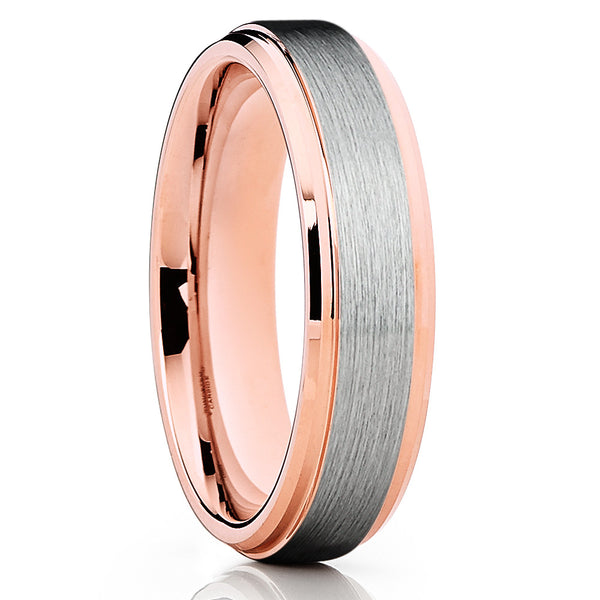 6mm - Rose Gold Tungsten - Tungsten Wedding Band - Brushed Ring