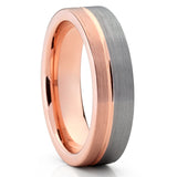 Rose Gold Tungsten Wedding Band - Gray Ring - Rose Gold Tungsten - 6mm - Clean Casting Jewelry
