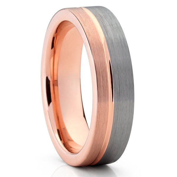 6mm,Rose Gold Tungsten,Brushed Tungsten,Gray Tungsten,Unique Ring,Grooved