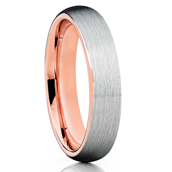 6mm,Rose Gold,Tungsten Ring,Brushed Style,Dome Tungsten Ring,Rose Gold Ring