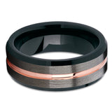 Black Tungsten Wedding Band - Rose Gold Tungsten Ring - Gunmetal Color - Clean Casting Jewelry