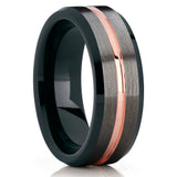 Rose Gold Tungsten Ring,Tungsten Wedding Band,Gunmetal Tungsten Ring,Brushed