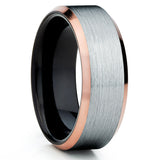Beveled,Rose Gold Tungsten Ring,Mens Wedding Band,Rose Gold Tungsten Band