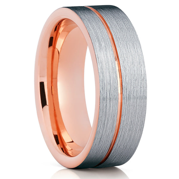 Tungsten Wedding Band - Rose Gold Tungsten - Tungsten Wedding Ring