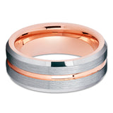 Rose Gold Tungsten Ring - Silver Brush Ring - Rose Gold Tungsten Band - Clean Casting Jewelry