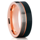 Rose Gold Tungsten Wedding Band - Tri Tone - Rose Gold Tungsten Ring - Black - Clean Casting Jewelry