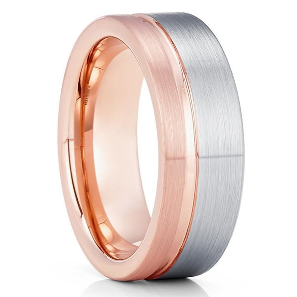 Rose Gold Tungsten Wedding Ring - Gray Tungsten Ring - Tungsten Carbide Ring - 8mm Ring - Engagement Ring
