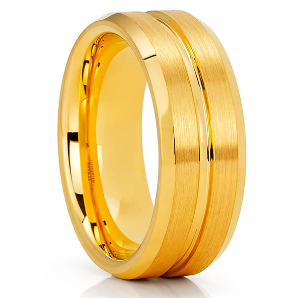 Yellow Gold Tungsten Ring - Brush - Yellow Gold Tungsten Ring - Beveled - Clean Casting Jewelry