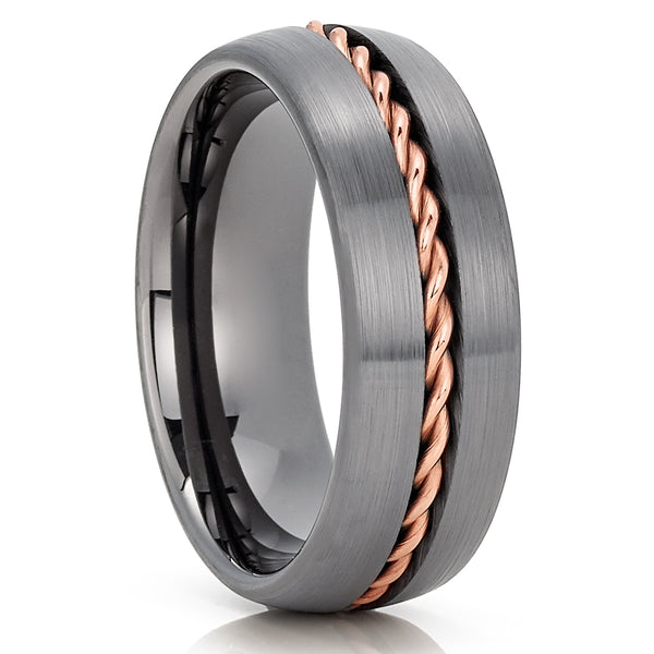 Gunmetal Tungsten Wedding Band - 8mm - Gunmetal Tungsten Ring - Braid - Clean Casting Jewelry