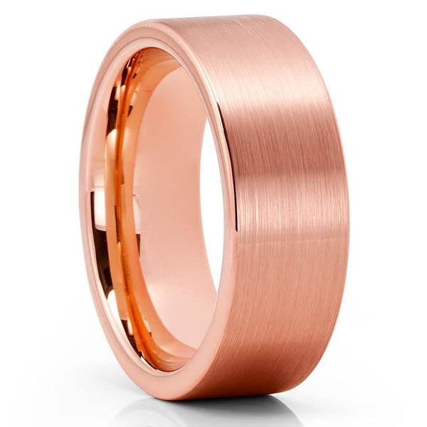 Rose Gold Tungsten Ring - Rose Gold Tungsten Wedding Band - Brush - Comfort Fit - Clean Casting Jewelry