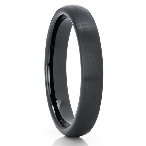 4mm Black Tungsten Wedding Band - Black Tungsten Ring - Black Ring - Dome - Clean Casting Jewelry