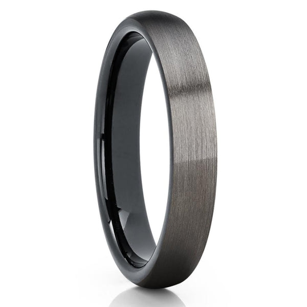 Gunmetal Tungsten Ring - 4mm Black Tungsten - Gunmetal Wedding Band - Clean Casting Jewelry